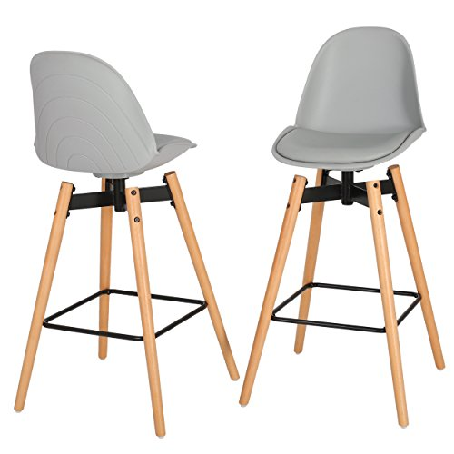 Mid Century Modern Gray Bar Stool Set of 2 with Cushion Seat and Dowel Wood Base - Includes Modhaus Living Pen