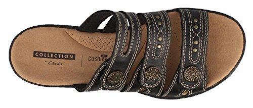 CLARKS Womens, Leisa Lakia Slide On Sandals Black 9.5 W