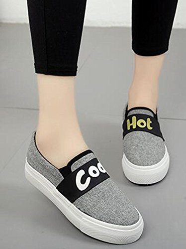 Schuhen Segeltuchschuhe des gray Pedals einzelnen der KUKI Normallack flach Mode mit Runde beiläufigen 5xZqf8w