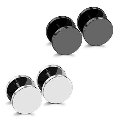JewelrieShop Fake Plugs Stainless Steel Stud Earrings Gauges Cheater Plugs fuax gauges Earrings for Men Women(2 Pairs 18 Gauges, Black And Silver)