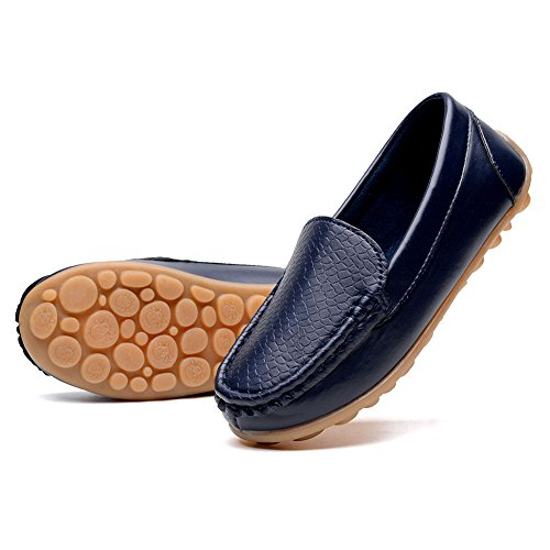 KONHILL Casual Loafers Shoes Boys Girls Moccasin Slip On Slippers Boat-Dress Shoes/Sneaker/Flats, Dark Blue, 32
