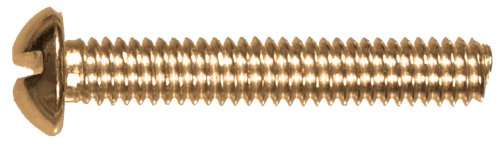 (The Hillman Group 45287 10-24 x 2-1/2-Inch Round Head Slotted Machine Screw, Brass, 15-Pack)