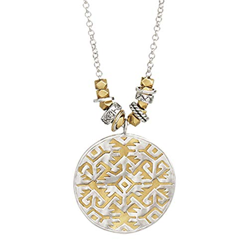 - Silpada 'Sundial' Filigree Pendant Necklace in Sterling Silver and Brass