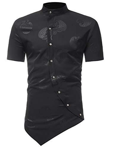 ZEROYAA Men's Hipster Irregular Hem Slim Fit Short Sleeve Banded Collar Paisley Dress Shirts Z82 Black Large