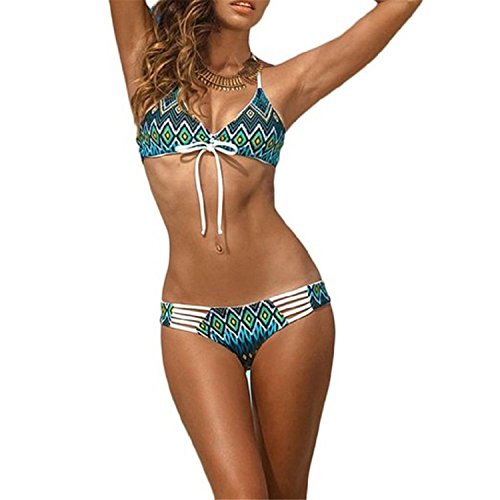 [David Salc Womens Vintage Floreale Stampa Halterneck Brasiliano Costumi Da Bagno Bikini Beachwear GreenLarge] (Brasiliano Costume)