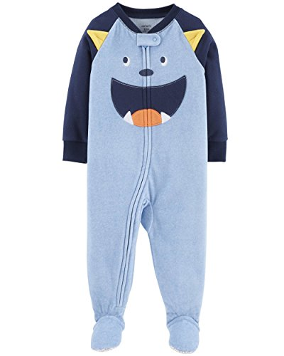 Carter's Baby Boy's 12M-5T One Piece Fleece Pajamas, Blue Monster, 4T
