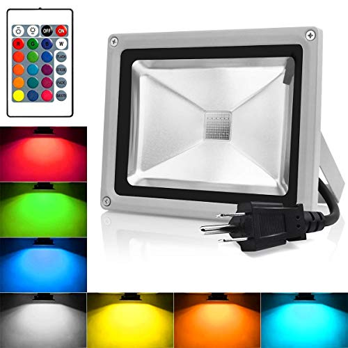 RGB LED Flood Lights,Outdoor Color Changing Spotlight with Remote Control,IP65 Waterproof 10W Wall Washer Light,16 Colors 4 Modes Dimmable Landscape Floodlight with US 3-Plug (RGB)