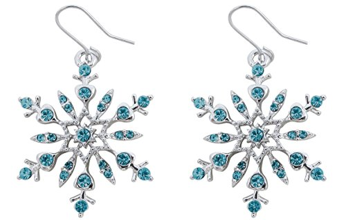 Women's Large Silver Tone Crystal Snowflake Charm Dangle Earrings Bridal Winter Christmas Holiday party Fashion Jewelry Gifts (Aqua Blue)