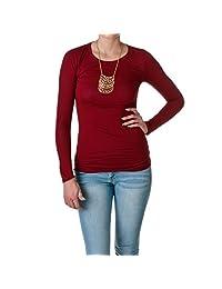 Hollywood Star Fashion Women's Long Sleeve Crewneck Cotton Top