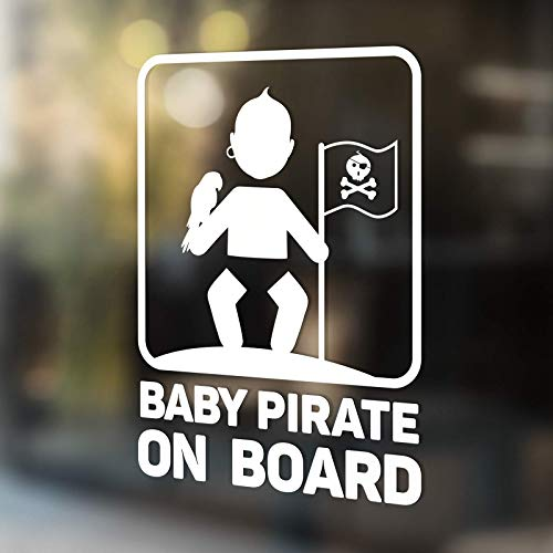 Babycalla Baby on Board Signs for Car Windows Sticker White Vinyl Boy and Girl (Pirate)