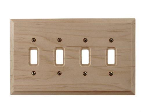 (Amerelle Baker Quadruple Toggle Unfinished Wood Wallplate)