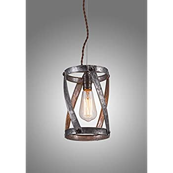 LightLady Studio - Farmhouse Decor - Industrial Pendant Lighting - Rustic Light Fixtures - Galvanized Pendant Light Looks Great with an Edison Bulb Hanging Over Your Kitchen Island or Bar