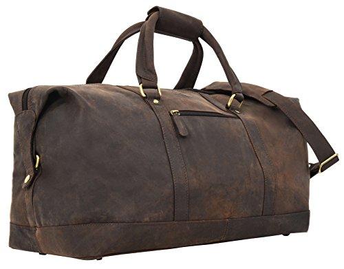 """Gusti Leder studio """"Ruben"""" borsone da sport palestra con interno impermeabile da viaggio escursioni bagaglio a mano vera pelle marrone scuro 2R1-20-4wp"""