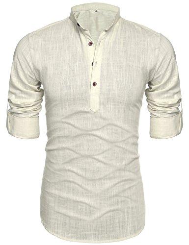 Henley Button down Rollup Sleeve Shirt