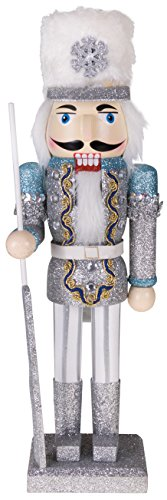 Traditional Snow King Nutcracker by Clever Creations | Decoration Figure with Scepter and Hat | Perfect for Any Collection | Christmas Decor | Perfect for Shelves & Tables | 100% Wood | 14