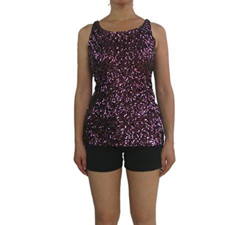 Whitewed Sequin Top Shirt Tank Blouse Under Jacket Blazer Mermaid Halloween Costumes,Purple,Large ()