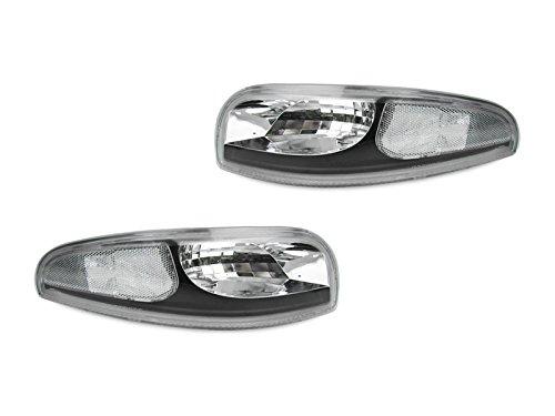 Housing 3 Light Trim - Black Trim/Chrome Housing Clear Bumper Signal Lights By DEPO Fit 1997-2004 Chevrolet Corvette C5