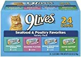 (US) 9Lives Seafood and Poultry Variety Pack, 24-Count, Cat Food Cans, Fish, Chicken