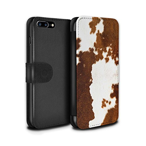STUFF4 PU Leather Wallet Flip Case/Cover for Apple iPhone 8 Plus/Cow/Brown Design/Animal Fur Effect/Pattern Collection