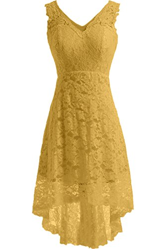 DressyMe Women's Cheap Lace Wedding Reception Dress Prom Party Gown High Low-6-Yellow ()