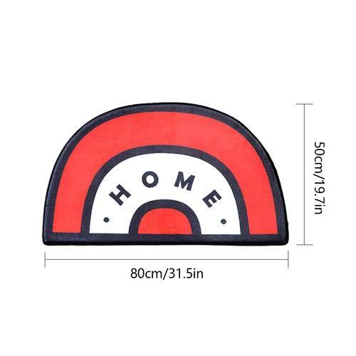Bestmemories Semicircle Shaped Short Velvet Mat, Mats Home Kitchen Bedroom Bathroom Door Ground Mat Anti-Slip Water Absorbent Floor Carpet Mat 50 80Cm