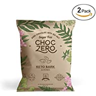ChocZero's Keto Bark, Dark Chocolate Almonds with Sea Salt. 100% Stone-Ground, Sugar Free, Low Carb. No Sugar Alcohols, No Artificial Sweeteners, All Natural, Non-GMO (2 bags, 6 servings/each)