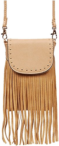 Vegan Faux Leather Fringe & Stude Detail Easy Carrying Cross Body bag phone carrier small bag (BEIGE) Fringe Detail Leather