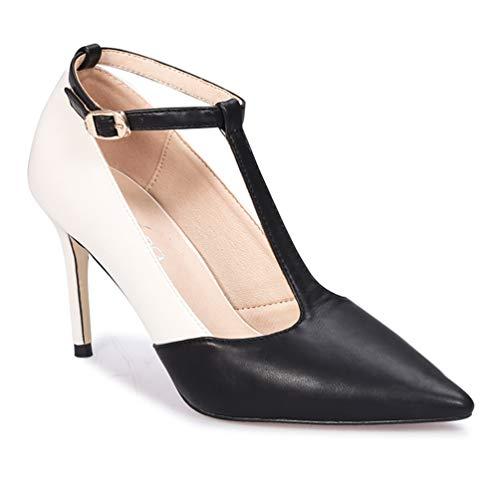Élégant Pour Hauts Talons Escarpin Blanc Noir Stiletto Escarpins Pumps Salomé Bride Femmes Chaussures E0qx54F
