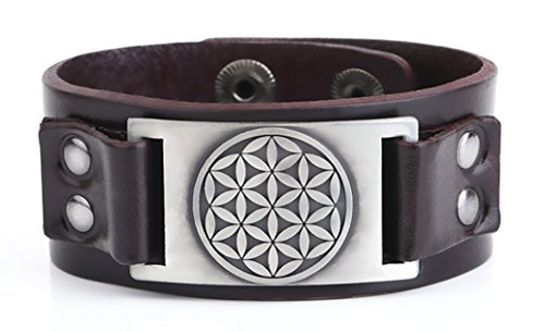 My Shape Flower of Life Leather Bracelet Adjustable Pagan Cuff Bangle for Men Women Jewelry Gifts (Antique Silver Brown)