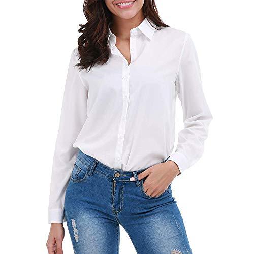 SUNNOW Women Fasional Slim Shirt V Neck Long Sleeve Button-Down Blouse (M, White)