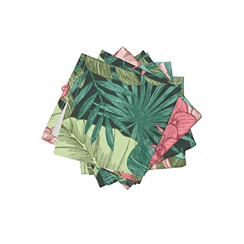 Heliconia Tropical Flower - Roostery Exotic Tropical Leaves Palm Frons Organic Cotton Sateen Cloth Cocktail Napkins Exotic Exotic Flower Leaf Parrot Heliconia Pink Beach Paradise by Adehoidar Set of 4: 10 x 10in