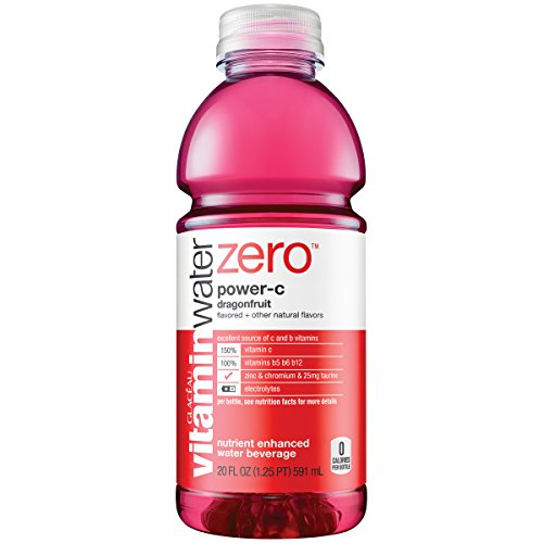 vitaminwater zero power c, electrolyte enhanced water w/vitamins, dragonfruit drink, 20 fl oz