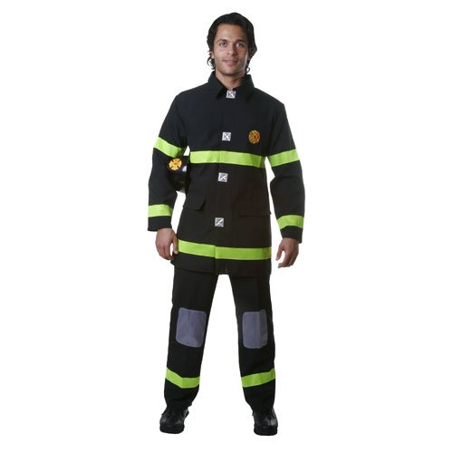 Dress Up America Adult Black Fire Fighter, Multi-Colored, (Fire Fighter Costume)