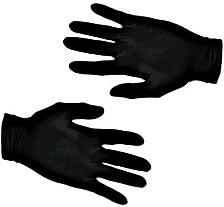 200 Vakly Black Latex Gloves Powder Free Medium
