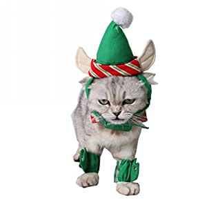 Amazon.com: hxinfu Navidad disfraz de mascota cuello, pierna ...