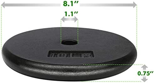 A2ZCARE Standard Cast Iron Weight Plates 1-Inch Center-Hole for Dumbbells, Standard Barbell 10, 15, 20, 25 lbs Single and Pair