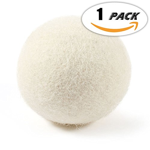 Premium Australian Wool Dryer Balls (1 Pack) (3.14 Inch) Reusable Organic Natural Fabric Softener and Static Reducer, Softens Reduces Wrinkles and Helps Dry Clothes in Laundry Quicker