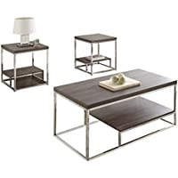 Steve Silver Company Lucia 3 Piece Occasional Tables, 47 x 24 x 20/22 x 22 x 24