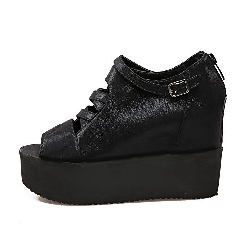 Tacones peep negro sandalias Zipper sólidas PU AgooLar altos toe Pqnw5xZ4XR