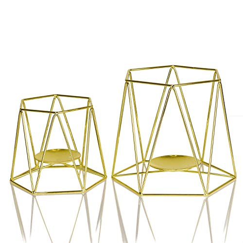 Amazing Home Large Gold Metal Pillar Candle Holders Set of 2, 4.7/6.2 inches Height, Geometric Elegant Tealight Holders, Centerpieces for Wedding, Home Decor, Ceremony and Anniversary