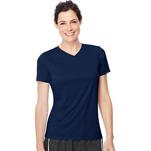 Hanes by Women's Cool Dri V-Neck T-Shirt_Navy_M (Short Womens Hanes V-neck)