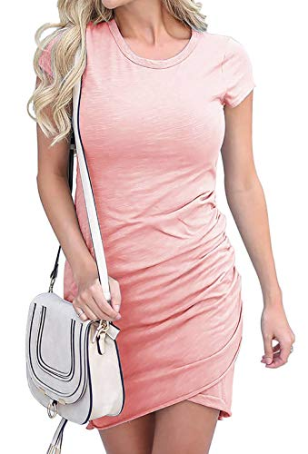 Summer Tshirt Dresses for Women Casual Ruched Irregular Bodycon Short Mini Dress Large - Tee Maternity Fitted