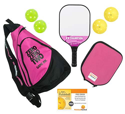 Pickleball Gift Bundle   Gifts for Her   Champion Spark Pickleball Paddle + Sling Pickleball Bag + Paddle Cover + Outdoor and Indoor pickleballs (for Her - Pink)