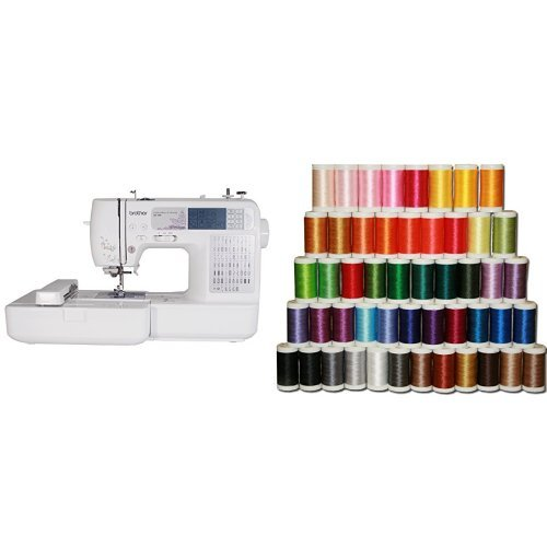 Brother SE400 Combination Computerized Sewing and 4x4 Embroidery -iMachine and Designio by Brother SA650 50-Piece High-Sheen, Polyester Embroidery Thread Set