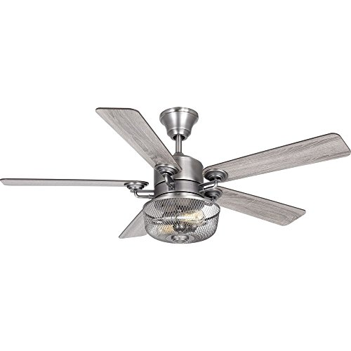 Progress Lighting P2584-81 Protruding Mount, 5 Walnut/Driftwood Blades Ceiling fan with 6.5 watts light, Antique Nickel