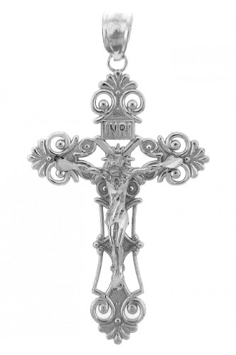 Crystal Sterling Silver Crucifix - 1