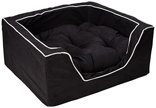 Snoozer Luxury Square Pet Bed, Large, Black/Herringbone by Snoozer