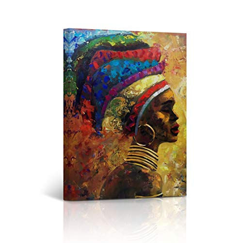 Buy4Wall African Wall Art Canvas Print Modern Woman Oil Painting Harmony of Colors Decorative Art Home Decor Artwork Stretched and Framed - Ready to Hang -%100 Handmade in The USA - Border Art Wall Framed