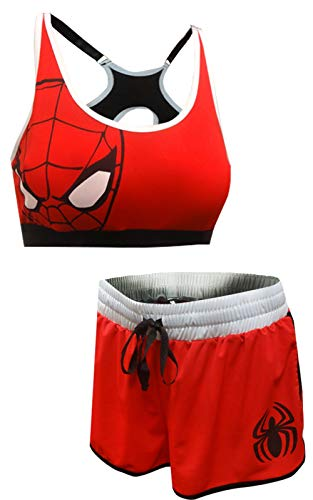 Marvel  Women's Avengers Spiderman Bra and Boxer Pajama Set (Large) Charcoal -