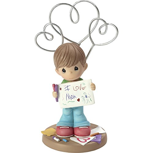 Precious Moments I Love Mom Boy Resin Home Decor Collectible Photo & Picture Holder Stand Figurine (Precious Moments Collectables)
